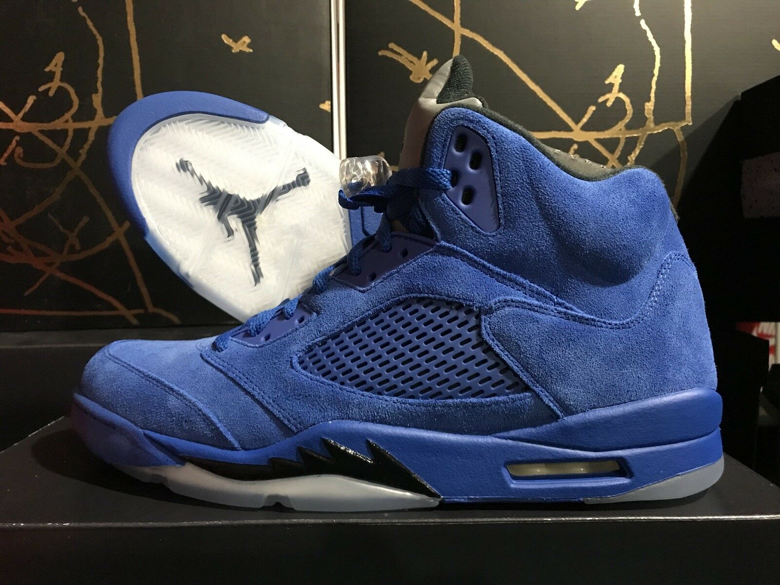 31102933736c6 AIR JORDAN 5 V RETRO 136027-401 blueE SUEDE SUEDE SUEDE GAME ROYAL BLACK DS  ...