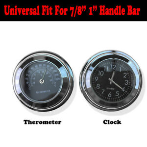 Handlebar Clock & Thermometer For Harley Road King Street Electra Glide FLH FLTR