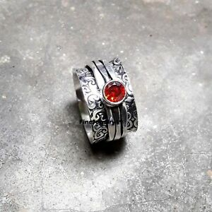 Garnet-Ring-Solid-925-Sterling-Silver-Spinner-Meditation-Statement-Jewelry-A441