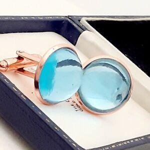Vintage-1970s-Aqua-Blue-Glass-Cabochon-20mm-Round-Rose-Gold-tone-Cufflinks
