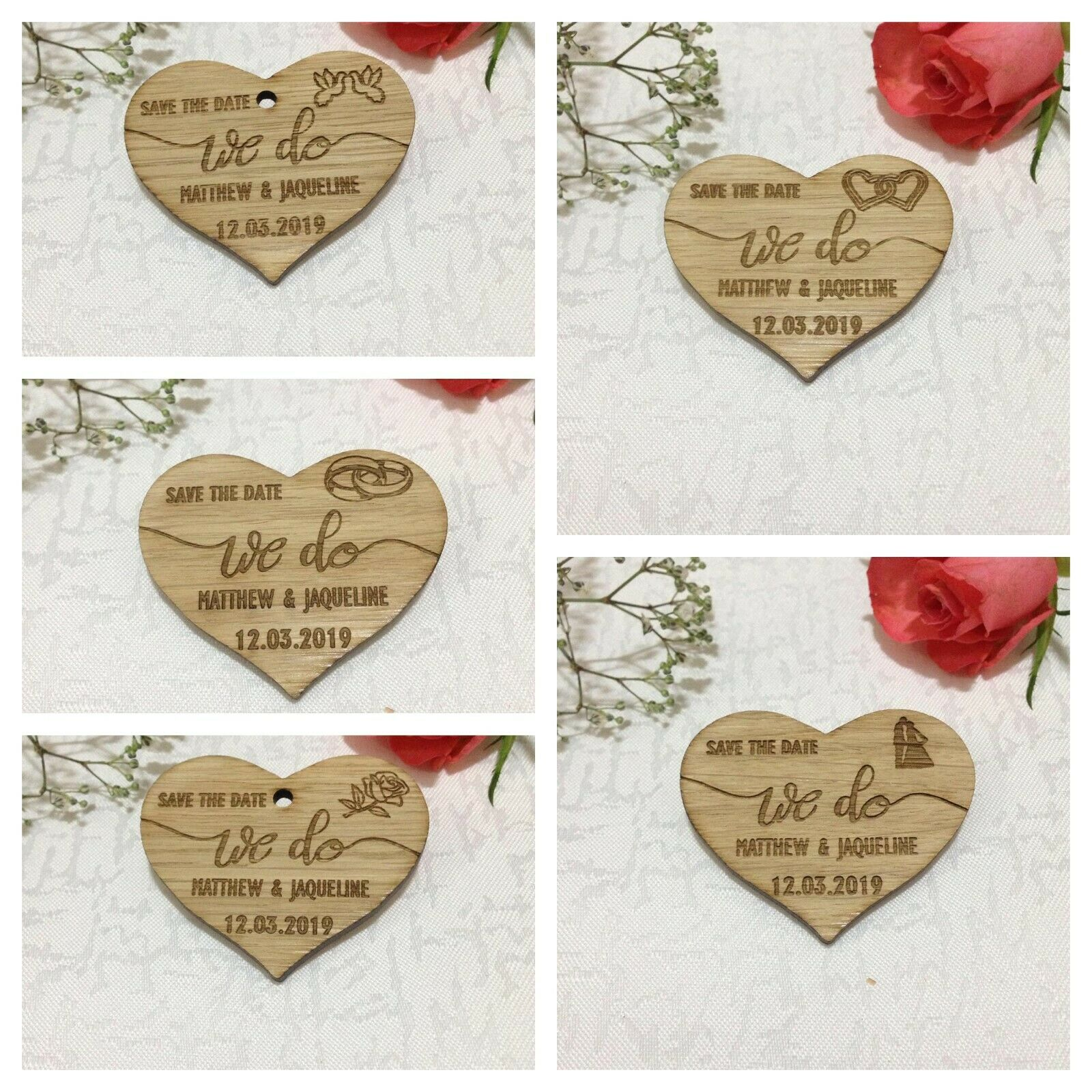 Save the Date Magnet Wedding Favors Hearts Thank You Card, We Do Template Invite