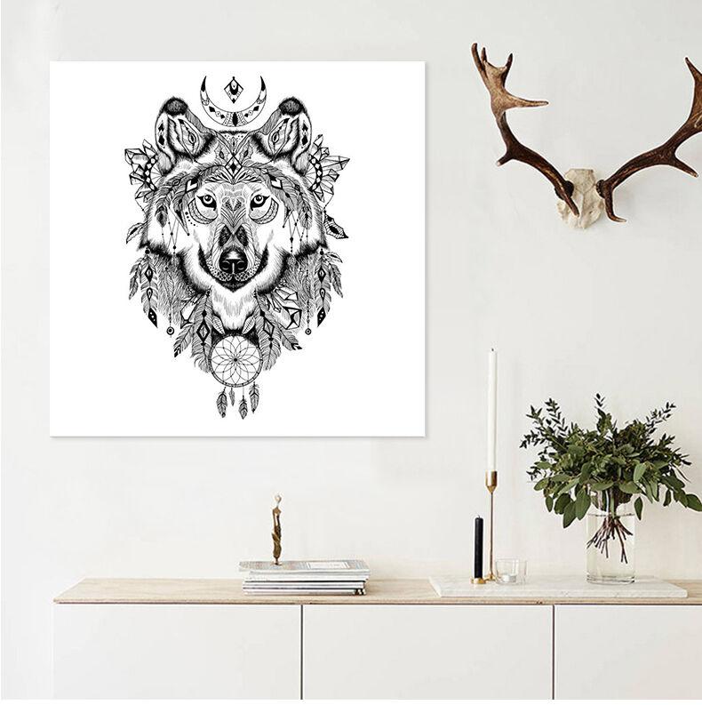 3D Wolf Totem 7 Wall Stickers Vinyl Murals Wall Print Deco AJSTORE UK Lemon