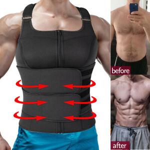 Men Neoprene Sauna Vest Sweat Body Shaper Waist Trainer Fat Burner Fitness Top