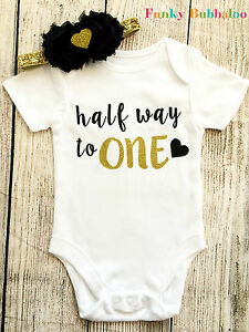 Image Is Loading Half Birthday Gold Glitter 6 Month Bodysuit Vest