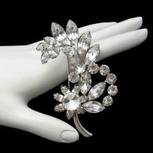 Vintage-Art-Deco-Style-Flower-Brooch-Pin-Marquise-Prong-Set-Rhinestones-Floral