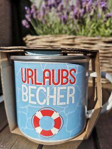 Urlaubsbecher-Urlaub-Blau-Rettungsring-Emaille-Becher-370ml-Metall-Kaffeebecher