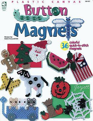 Button Magnets Fridgies Appliques 36 quick-stitch plastic canvas patterns