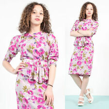 WOMENS VINTAGE PINK FLORAL PATTERN DRESS 80'S PEPLUM WIGGLE MAD MEN STYLE 8