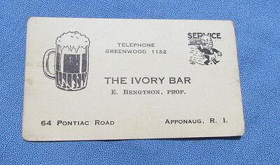 Vintage The Ivory Bar Apponaug RI business card beer mug