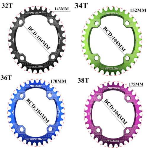 MTB Road Bicycle Crank 104BCD Oval 32T//34T//36T//38T Chainring Bike Single Plate