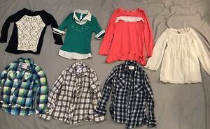 EUC-SZ-10-12-Lot-Of-7-Girls-Long-Sleeve-Tops-Dressy-Babydoll-Plaid-Justice