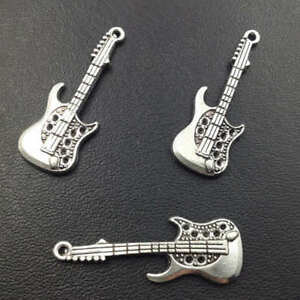 guitar charm silver alloy pendant jewelry finding making diy accessories 10pcs ebay. Black Bedroom Furniture Sets. Home Design Ideas