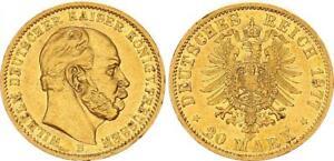 Preussen 20 Mark 1877 B Wilhelm I. fast vz 64141
