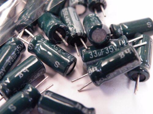 Aprox 100 Piezas Condensador electrolítico Radial de Samsung 33uF 35v CD05