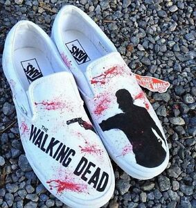 Scarpe Vans Printed Slip On The Walking Dead Custom White Black Blood Red