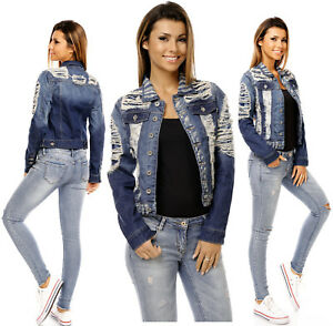Jeans 172 S Giacca Azzurro Destroyed Donna Sexy Corto Da Strappato qO7A7E