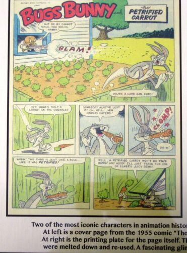 printed to plate! Bugs Bunny /& Elmer Fudd 1955 Printing Plate /&  comic page