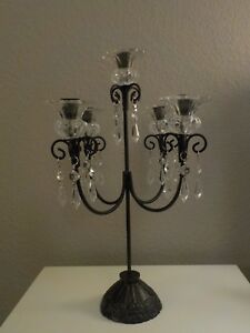 Image Is Loading 5 Arm Candelabra Black Wrought Iron With Gl