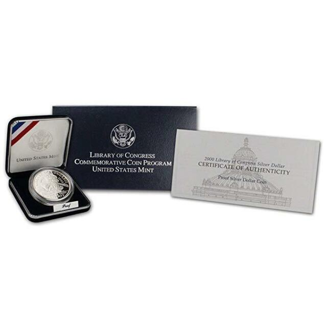 2000 Library of Congress Commemorative Proof Silver Dollar Coin In Box w// COA