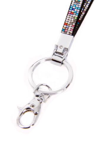Bling Lanyard Rhinestone Diamante Crystal Neck ID CARD Keychain Holder Strap Lot