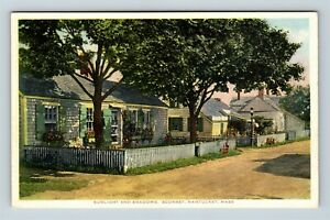 Nantucket-MA-Cottages-Flowers-Scenic-Street-Vintage-Massachusetts-Postcard-A56
