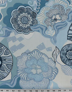 Drapery Upholstery Fabric Indoor Outdoor Retro Tropical Print Blue