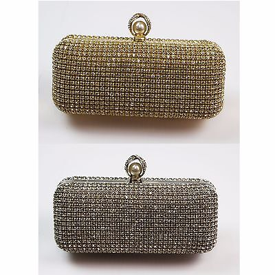 Ladies Metallic Pearl Purse Faux Leather Diamante Wallet Clutch Handbag M04A-321