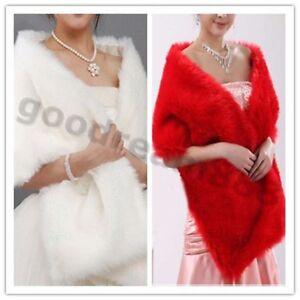New-ivory-Red-Faux-Fur-Wrap-Shrug-Bolero-Coat-Bridal-Shawl-One-Size