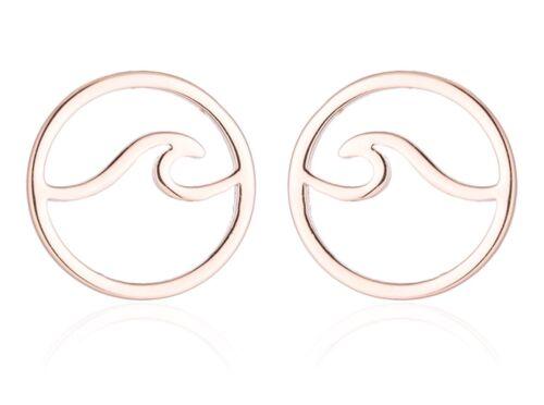 On Trend Rose Gold Ocean Beach Surf Wave Boho Geometric Stud Earrings
