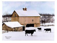 Billy Jacobs Farm Print Black & White Barn Cows Country Home Decor 73348