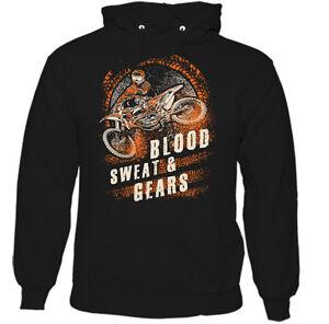 Blood Sweat And Gears Mens American Biker Hoodie Motorbike Bike Indian
