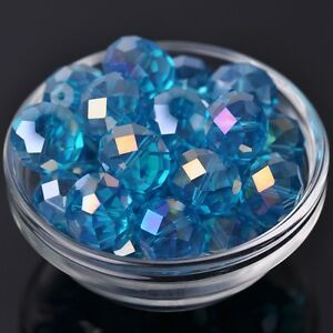 10pcs-18x13mm-Rondelle-Faceted-Crystal-Glass-Loose-Beads-Lake-Blue-AB