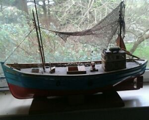 Lindisfarne-fishing-boat-model-large-with-stand-nautical-collectors