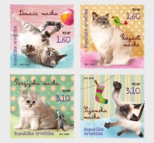 Cats-block-of-4-stamps-mnh-2012-Croatia-826-Siamese-Persian-Ragdoll-Domestic