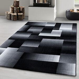 Détails sur Tapis design moderne salon motif abstrait damier noir gris blanc