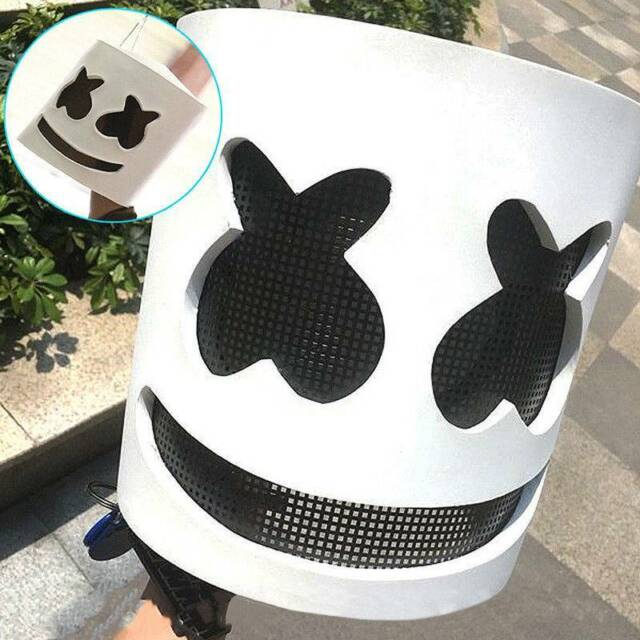 MarshMello DJ Mask Full Head Helmet Halloween Cosplay Mask Bar Music Props A++++