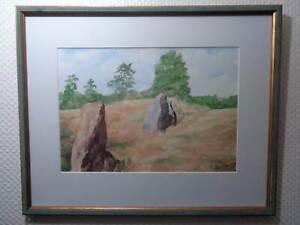 Aquarellbild-with-Wood-Frame-Signed-K-Holder-95-Heath-Rocks