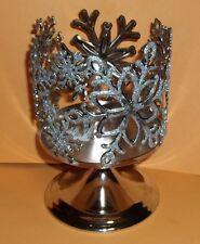 Bath Body Works Slatkin & Co Silver Snowflakes 3 Wick Glitter Candle Holder NEW