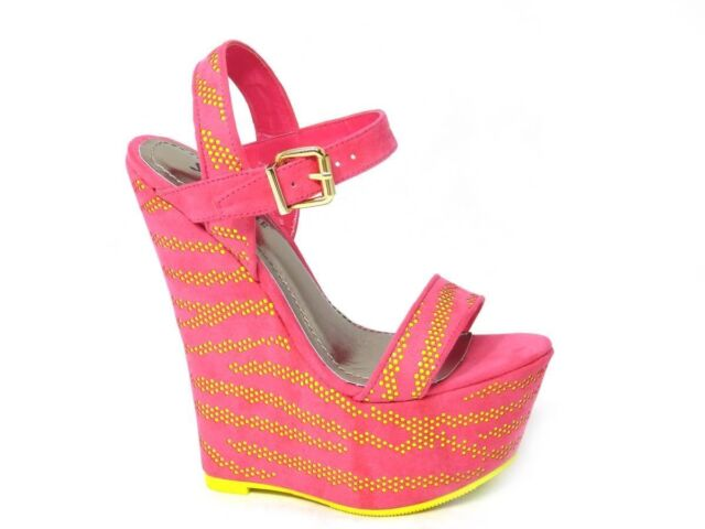 Womens Ladies Wedge Heel Sole Sandals Strappy Look Shoes Pink Sizes 3/4/5/6/7/8
