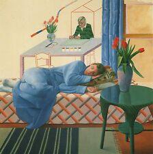 DAVID HOCKNEY BOOK PRINT YOUNG MODEL SLEEPING AS HOCKNEY PAINTS SELF-PORTRAIT