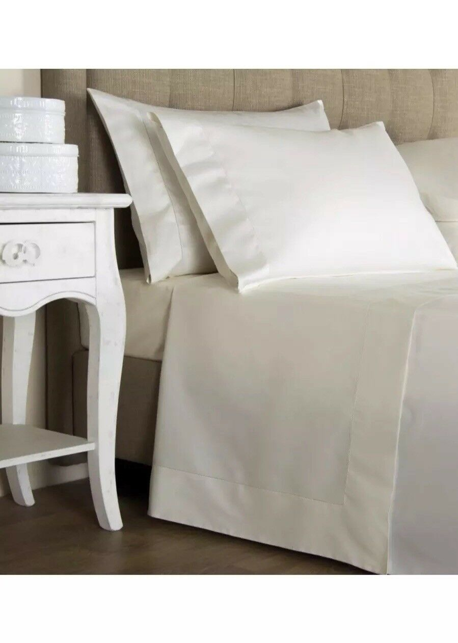 New  Frette King 4-PcSheet Set Lux Percale Hemstitch Ivory Made In