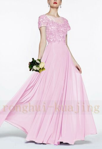 New Long Lace Chiffon Formal Prom Party Ball Bridesmaid Evening Dress Size 6-18+