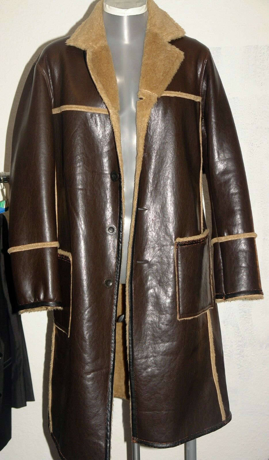 Extravaganter Mantel lang braun warm gefüttert XL L 52  FTP Freeman T Porter
