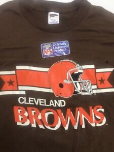 USA-Vtg-CLEVELAND-BROWNS-T-Shirt-TRENCH-sz-L-38-034-NOS-w-Moth-Hole-AS-IS