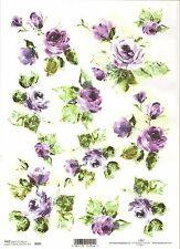Carta di riso per decoupage scrapbooking, dipinto Violet Rose ITD r095