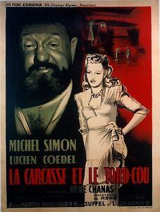 MICHEL-SIMON-LA-CARCASSE-ET-LE-TORD-COU-AFFICHE-ORIGINALE-FRANCAISE-ENTOILEE