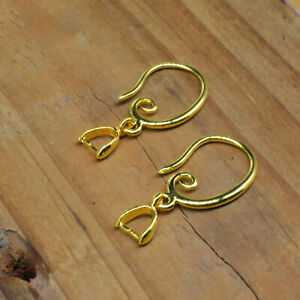 18K Gold Filled Make Jewelry Findings Smooth Pinch Bail Ear Wire Hook Earring