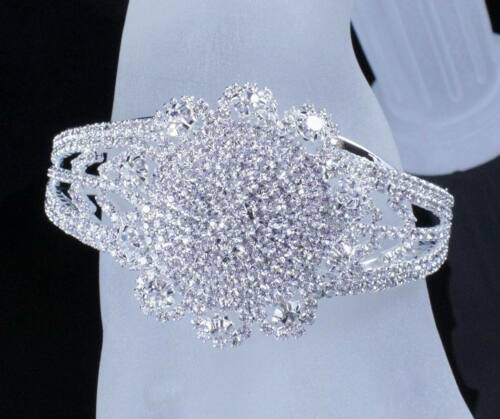 SUNFLOWER BRIDAL AUSTRIAN CRYSTAL BANGLE BRACELET CUFF SILVER WEDDING B12116