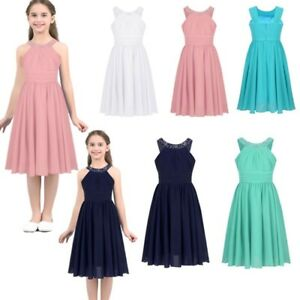 e285044d0973 Kids Rhinestone Halter Princess Dress Party Pageant Wedding Flower ...