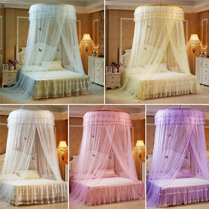 Image is loading Elegant-Round-Dome-Princess-Bedding-Hanging-Canopy -Mosquito- & Elegant Round Dome Princess Bedding Hanging Canopy Mosquito Net ...
